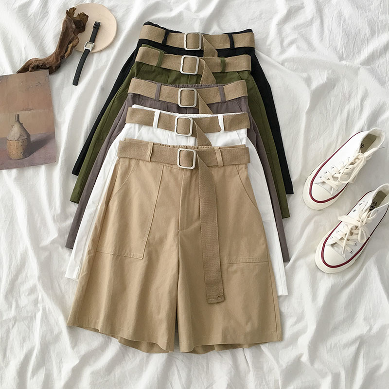 Summer Safari Style Cotton Short Women Khaki Straight Fashion Casual With Sashes Belt Black Short Bottoms