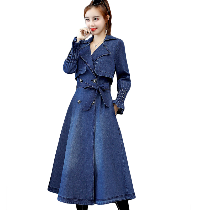 Autumn Denim   Trench   Coat For Women New Double-breasted Jeans Windbreaker Long Outerwear Womens Slim Student Coat With Belt D705