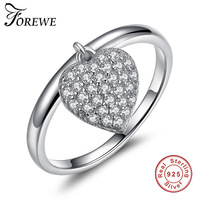 Authentic Real 925 Sterling Silver Clear CZ Crystal Heart Finger Ring For Women Engagement Silver Rings