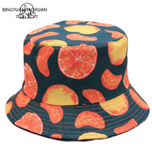 BINGYUNAHAOXUAN Panama Bucket Hat Men Women Summer Cap Orange Print Hip Hop Gorros Fishing Fisherman