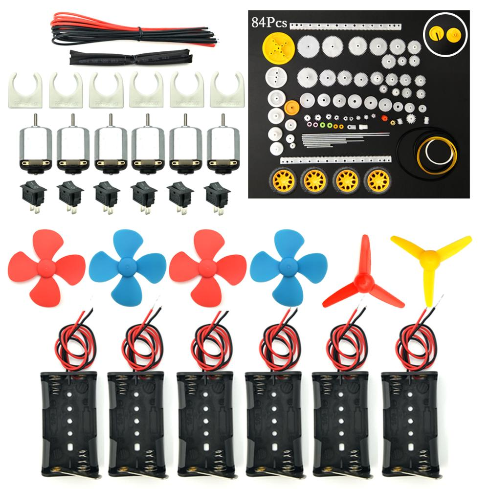 6 Set Rectangular Mini Electric 1.5-3V 24000RPM Hobby Motor With 84 Pcs Plastic Gears Kit For DIY Science Projects