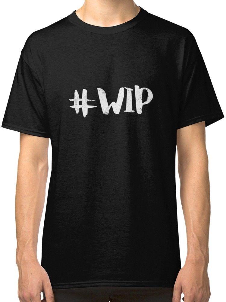 T-Shirts 2017 Brand Clothes Slim Fit Printing #WIP Hashtag Mens Black Tees Shirt Clothing