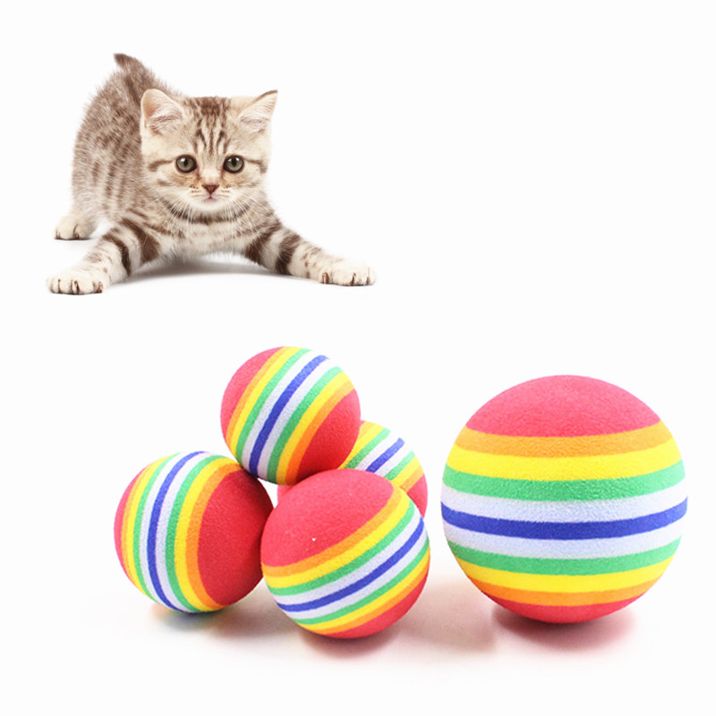5pcs/lot Foam Rainbow Cat Dog Play Toy Ball Interactive Cat Toys Chewing Scratch Ball Play Toy For Dog Cat Pet Supplies 2 size