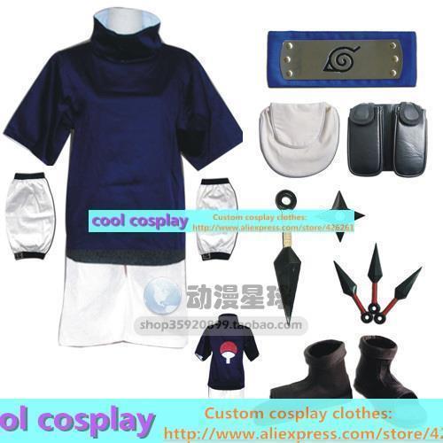 Naruto Uchiha Sasuke ropa cos zapatos de cosplay conjunto completo de ropa