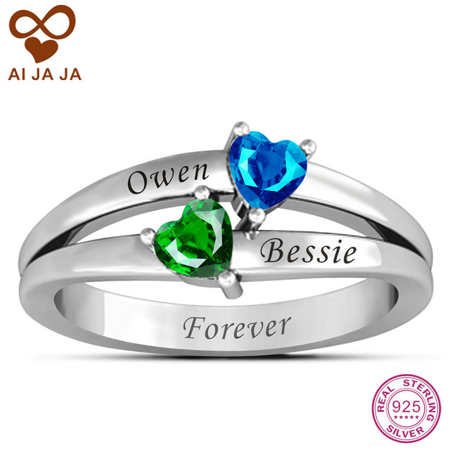 5d1f311708 Pure 925 Sterling Silver Personalized Name Rings Customized Couple Name  Engraved & Double Heart Birthstones Rings For Girlfriend