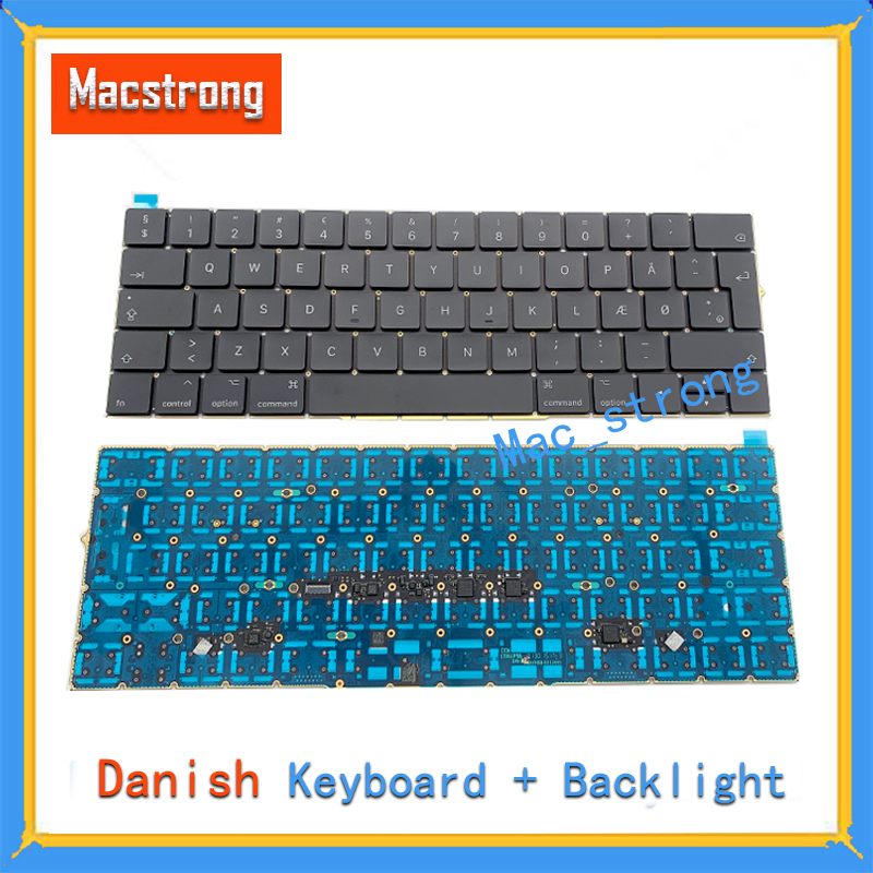 Brand New Original 13 A1706/A1708 Denmark Keyboard For Macbook Pro Retina 15 A1707 DK Keyboard With Backlight 2016 2017 image
