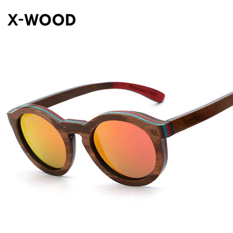 X-WOOD Handmade Wood Eyewear Frame Sunglasses Retro Vintage Wooden Glasses Polarized Mirror Lens Women Sunglasses 50mm Gafas uv400 polarized mirror orange lens wood frame sunglasses