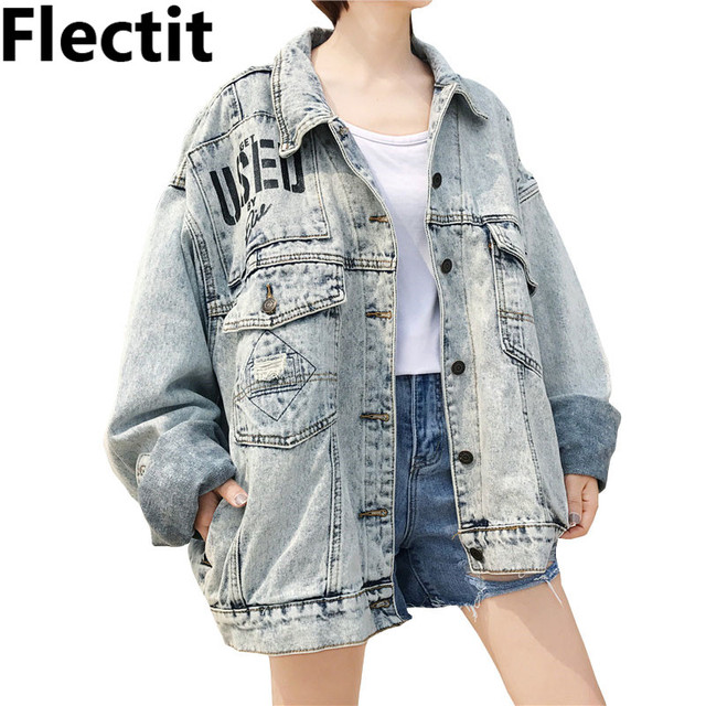 46f5410afde Flectit Grunge Oversized Baggy Denim Jacket For Women Graphic USED Washed  Denim Long Sleeve Vintage Jean Jacket Coat