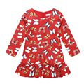 3-10Y Colorful butterfly red fabric Princess Dress cotton baby clothes costume long sleeve O-neck spring summer denim sundress