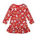 3-10Y mariposa Colorida tela roja Vestido de Princesa ropa de bebé de algodón traje de manga larga Del O-cuello denim primavera verano vestido de tirantes