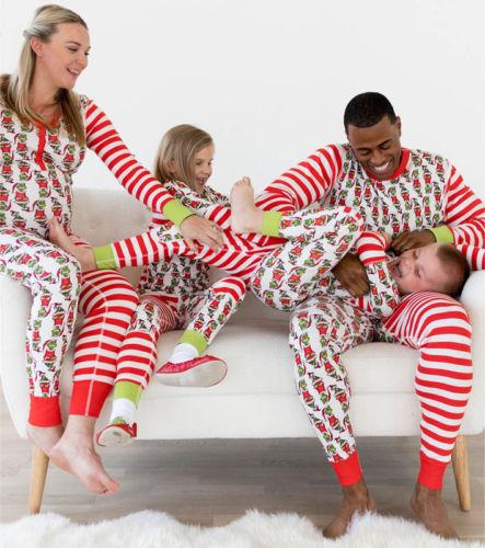 Emmababy 2017 Family Matching Christmas Pajamas Set Women Baby Kids Elf Sleepwear Cartoon Nightwear