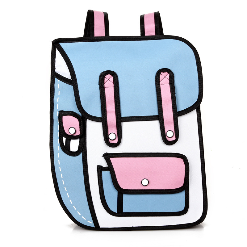 2019 New 3d Jump Style 2d Drawing Cartoon Paper Bag Comic Backpack Messenger Tote Fashion Cute Student Bags Unisex Bolos 4colors