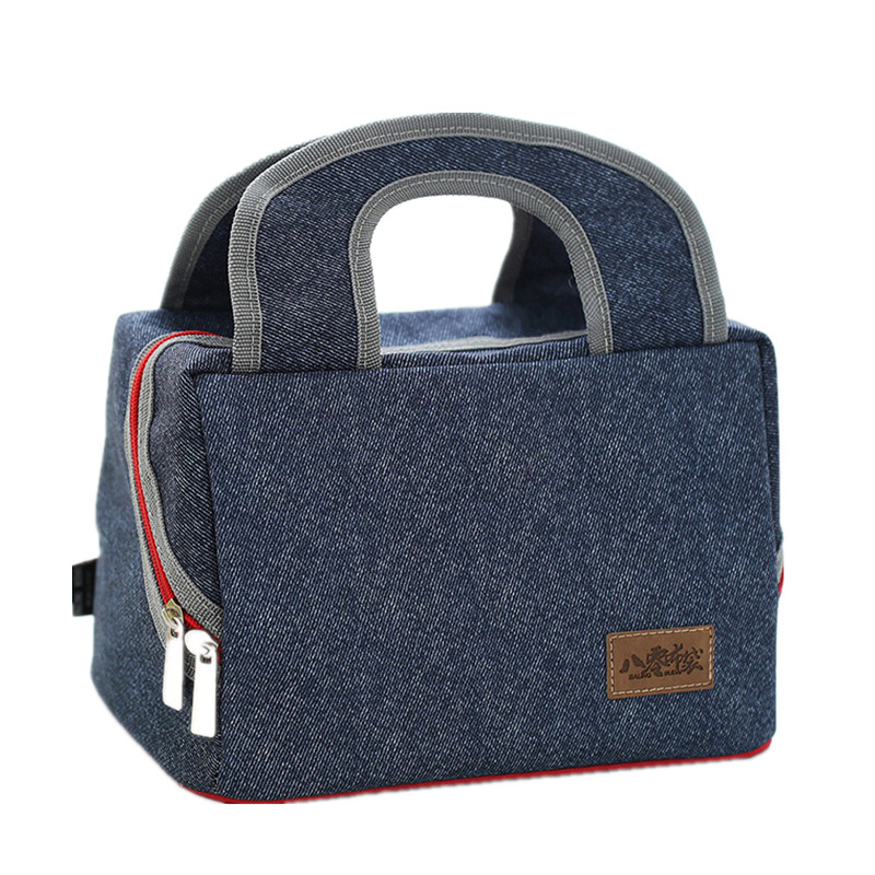 Denim Beer Handbag Cooler Bag Kid Picnic Bento Box Insulated Pack Drink Food Thermal Ice Leisure Lunch bag Accessories Items