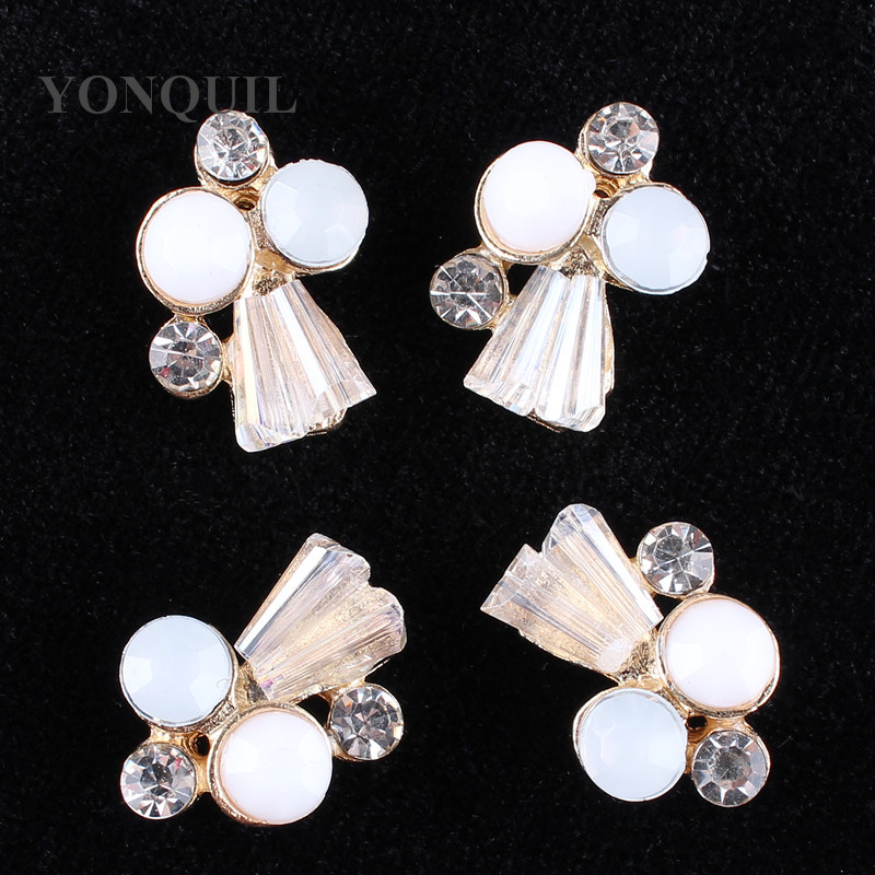 2018 Elegant glass rhinestone Pearl buttons gold base glue on for wedding women hats art crafts accessories 24pcs/lot MYQB093