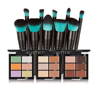 Huamianli 6 Color Concealer Palette Corrector Contour Makeup Cream 10pcs Black Handle Brushes Professional Makeup Set