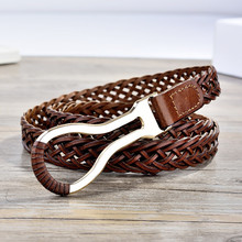 All-match vintage genuine leather knitted thin belt brief fashion cowhide tieclasps decoration skirt leather