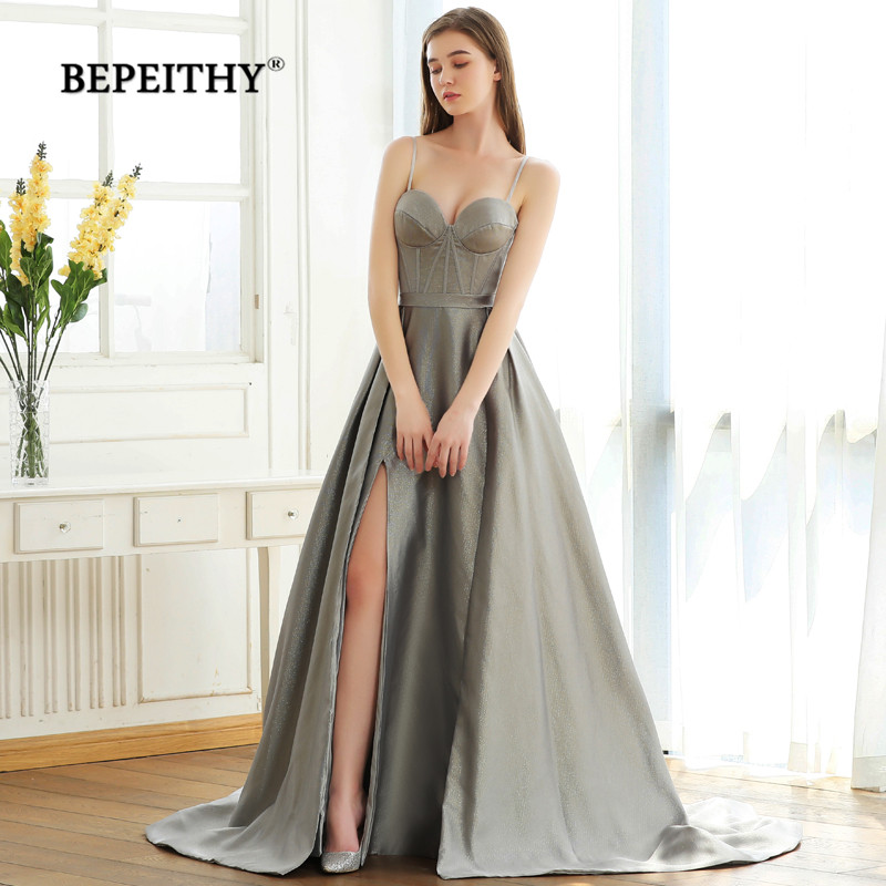BEPEITHY 2019 Sweetheart A line   Evening     Dress   With Slit With Train Vestido De Festa Vintage Glittle Fabric New Prom Party Gown
