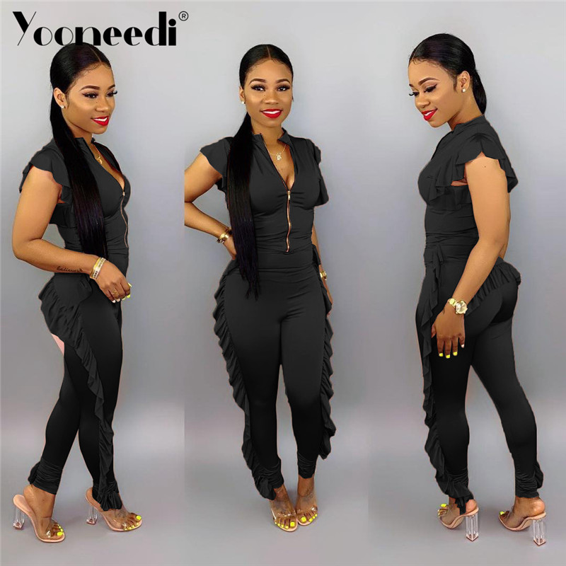 Collection Here Yooneedi 2019 New Arrival Sexy Women Jumpsuits 2 Color Solid Ruffles O-neck Sleeveless Ladies Rompers Lsd-8320 Evident Effect