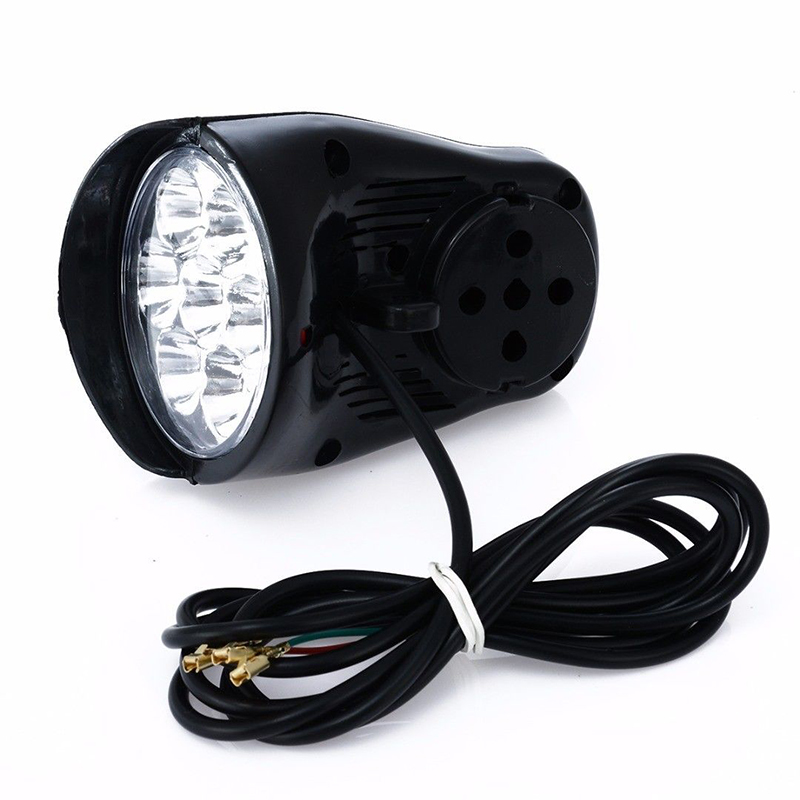 7LED Electric Bicycle Headlight Lighting 100lm with Horn super bright Durable