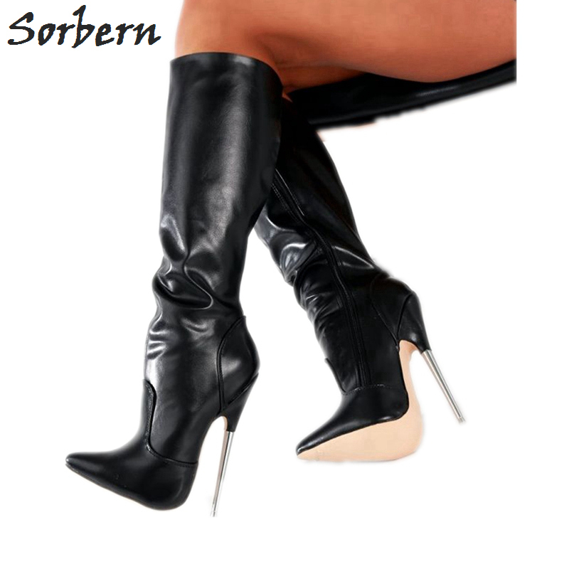 Sorbern Plus Size Women Boots Metal Heels Large Size 36 46 Pointed Toe Unisex Gay Dance
