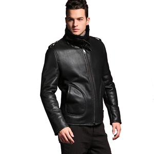 Image 5 - Quality Thick sheepskin coat shearling fur coat Male Formal Red Shearling Clothing genuine shearling coat for men Outwear