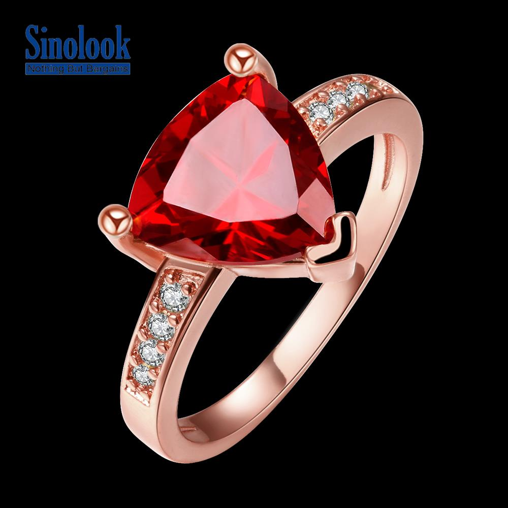 New Design Large Ruby Cz Stone Jewelry 18k Real Rose Gold Plated Ring Women Triangle Cut 1pcs Crystal For Weddingin Rings From: Triangle Ruby Wedding Rings At Reisefeber.org