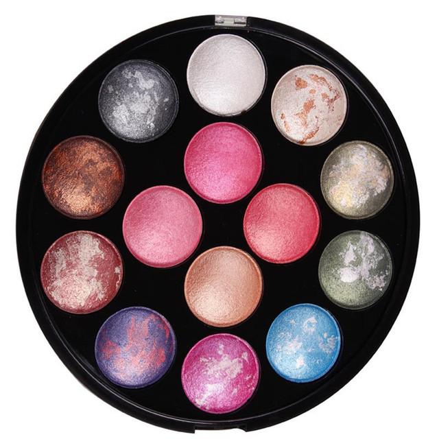 14 Cores Multifunções Rodada Iluminar Shimmer Radiante de Longa-duração Da Paleta Da Sombra Profissional Paleta de Maquiagem Dos Olhos Cosméticos
