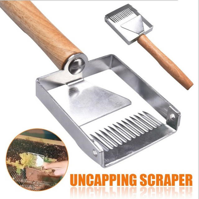 2 In 1 Stainless Steel Bee Hive Uncapping Honey Fork Scraper Shovel Beekeeping Apiary Cut Tool Outdoor Tools