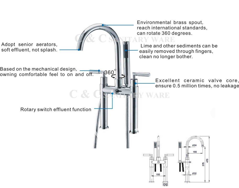 Dual Handles Chrome Bathroom Floor Standing Bathtub Faucet 360 ...