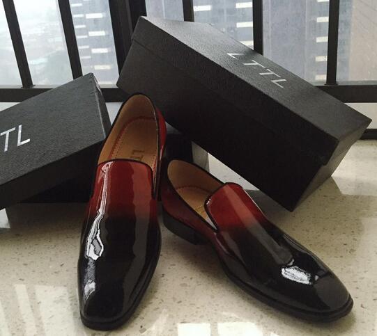 Nouvelle Arrivée Noir Rouge Gradient Couleur Robe Chaussures En Cuir Haute Qualité Hommes Appartements Beau Hommes Chaussures Grand Size46 Hommes Mocassins