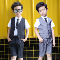 Boys Formal Suit for Wedding Brand England Kids Fashion Party Boys Gentlemen Blazer Vest Shorts 3PCS Suit Set Gray Black S86601A