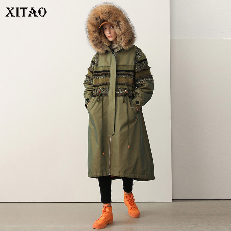 [XITAO] New Arival Women 2018 Winter Europe Fashion White Duck   Down   Casual Full Sleeve Patchwork Thick   Down     Coat   ZLL2146