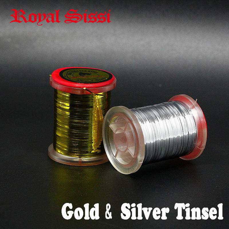 Royal Sissi 2spools gold silver flat mylar tinsel small size 0.5mm width flat flash tinsel fly tying material for classic flies