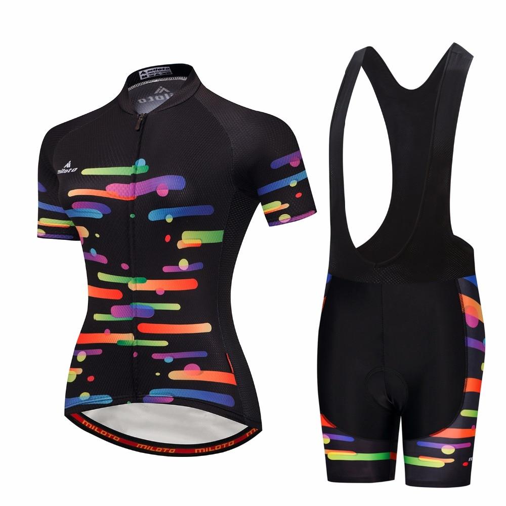 Bib Shorts Set Short Sleeve Ropa Ciclismo S-4XL Team Women Cycling Bike Jersey