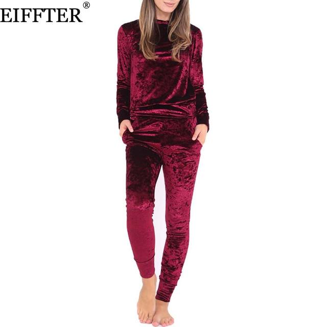 Eiffter المخملية النساء مجموعات الخريف الشتاء أزياء جديدة طويلة الأكمام مثير 2 قطعة مجموعة bodycon سليم عرق الدعاوى هوديس تراكسويت 0226