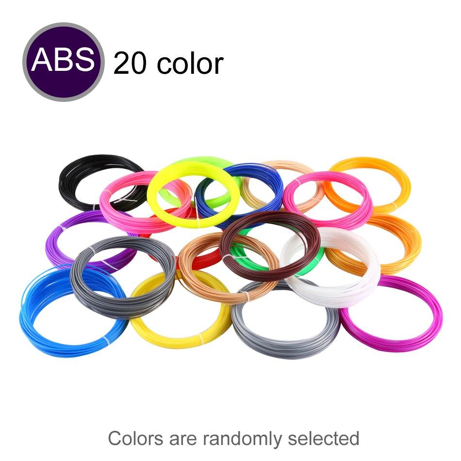Filamento plástico do abs da pena 3d 1.75mm 20 materiais do filamento da impressora 3d das cores (5 m/cor, total 100 m) e (10 m/cor, total 200 m)