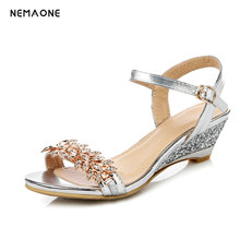 NEMAONE hot sale new arrive women sandals fashion buckle crystal colors summer high heels shoes lady wedding shoes