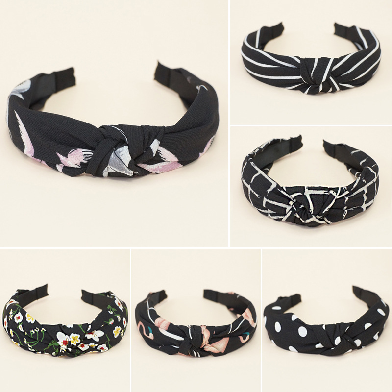 WEIJUN Lady knotted Bowknot Headwear Women Adult Fashion Hairbands Print Headwear in Women 39 s Hair Accessories from Apparel Accessories