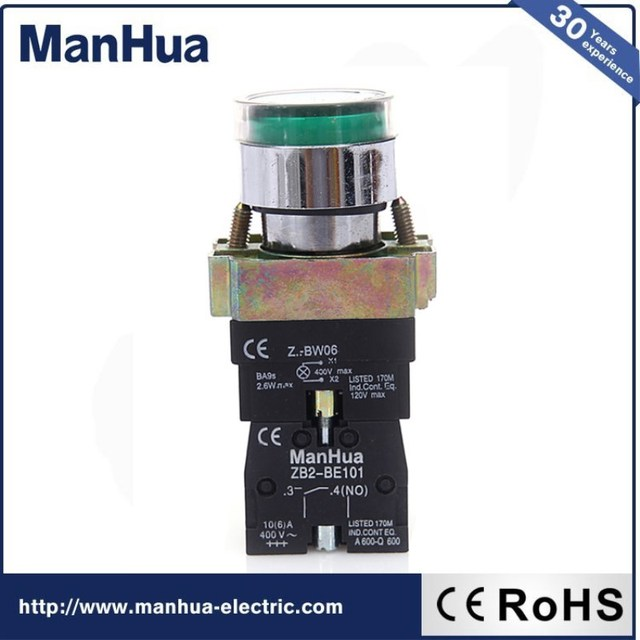 Manhua Hot Sale Product  Low Voltage Metal Waterproof  Push Button Switch Momentary or Latching 220V ZB2-BE102 16A Smart Home