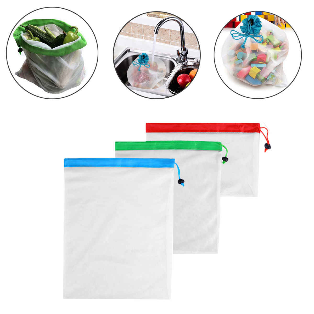 3 Size Reusable Mesh Produce Bags Washable Bags for Grocery Shopping Storage Fruit Vegetable Toys Sundries Organizer Storage Bag