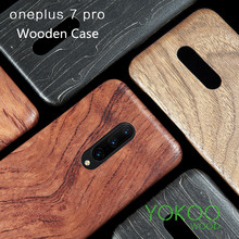 For OnePlus 7 Pro Wooden Rosewood Bamboo Walnut  Enony Wood Slim  Back Case Cover walnut wooden american flag pattern protective back case for iphone 5 brown