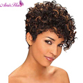 Amir Medium Shor afro Kinky Curly wig Synthetic wig for Black Women Black and Brown Lolita wig Synthetic cosplay wigs perruque