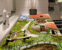 Beibehang Senior Wall Paper Bathroom Kitchen Living Room Blue Sky And White Clouds 3D Floor Tiles