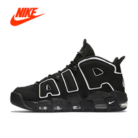 Authentic Nike Air More Uptempo Men's Breathable Basketball Shoes Black Letter Printed Sports Sneakers for Men Outdoor Designer