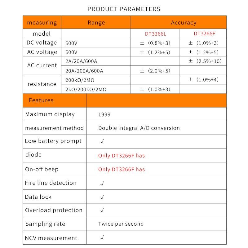 Digitaalne Multimeeter DT-3266L 600A 4