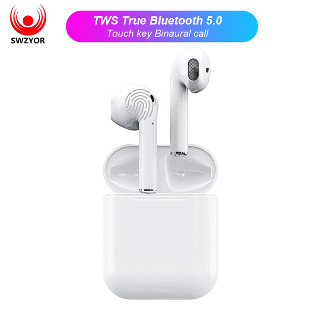 SWZYOR i12 TWS Bluetooth Earphone Wireless earphones Touch control Earbuds 3D Surround Sound Earbuds & Charging case PK i10 i11