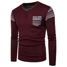 Mens Sweater Autumn and Winter Men's Fashion Diamond V-neck Pocket Decoration Knitwear Sweater