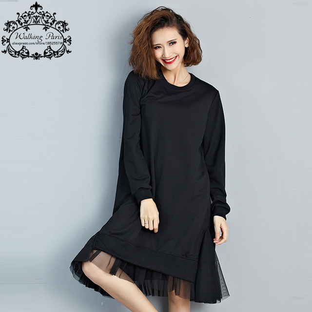 Big Size T-Shirt Women Cotton Patchwork Lace Autumn Solid Fashion Female O-Neck Long Sleeve Casual Basic Black Tops&Tees Dress