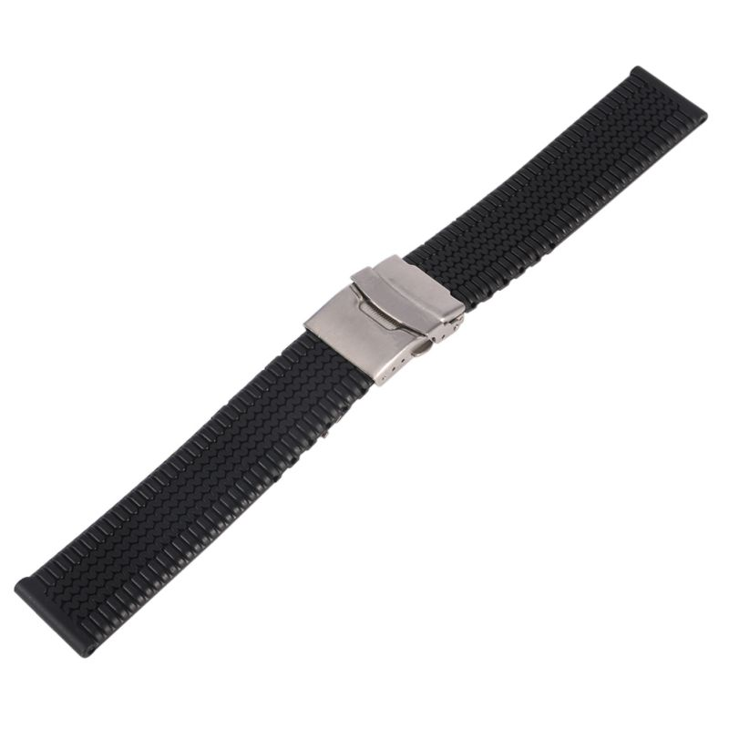 Waterproof 20 22 24mm Wtach Strap Silicone Rubber Watch Strap Band Deployment Buckle watch bands sport black silicone rubber watch strap deployment buckle waterproof 20 mm
