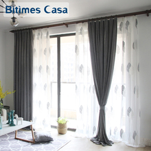 ФОТО grey color window curtain drapes customized size chennille material high shade for living room bedroom simplism home decoration